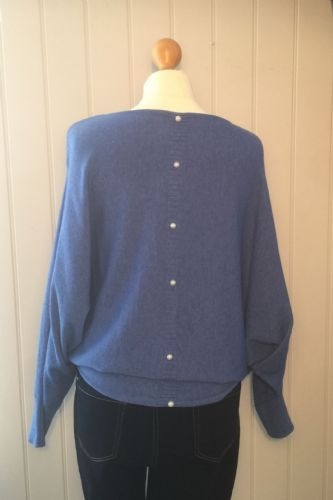 Pearl Back Batwing Jumper - Blue